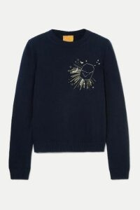 Le Lion - Capricorn Embellished Embroidered Wool Sweater - Navy
