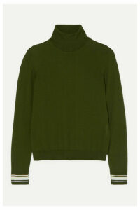 Golden Goose - Striped Merino Wool-blend Turtleneck Sweater - Green