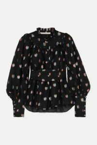 Anna Mason - Kasia Belted Fil Coupé Organza Blouse - Black