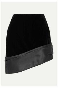 SAINT LAURENT - Asymmetric Silk-satin Trimmed Velvet Mini Skirt - Black