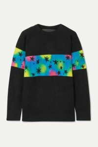 The Elder Statesman - Intarsia Cashmere Sweater - Black