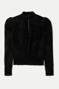 FRAME - Party Cutout Croc-effect Devoré-velvet Blouse - Black