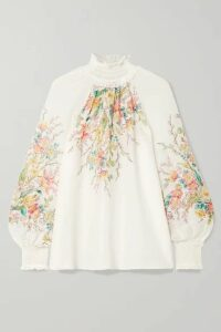 Zimmermann - Zinnia Floral-print Ramie Top - Ivory