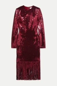 Rebecca Vallance - Matisse Fringed Sequinned Crepe Midi Dress - Burgundy