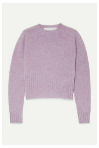 Victoria Beckham - Cropped Mélange Wool Sweater - Lavender