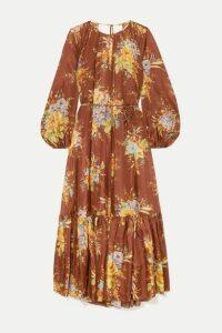 Zimmermann - Zinnia Tiered Open-back Floral-print Silk Midi Dress - Brown