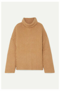 Nanushka - Raw Ribbed Wool-blend Turtleneck Sweater - Camel