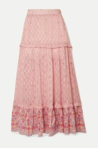 Chufy - Taquile Ruffled Floral-print Metallic Fil Coupé Chiffon Maxi Skirt - Pink