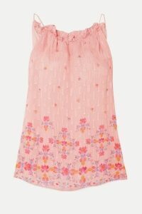 Chufy - Taquile Ruffled Floral-print Metallic Fil Coupé Chiffon Top - Pink