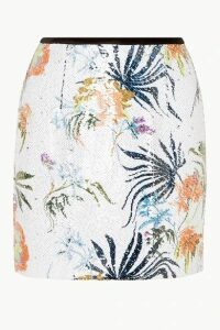 BLOUSE - Tender Fury Velvet-trimmed Sequined Chiffon Mini Skirt - White