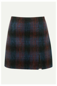 Vanessa Bruno - Mimi Checked Brushed Wool-blend Mini Skirt - Purple