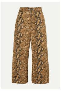 Ellery - Nuance Cropped Snake-effect Faux Leather Wide-leg Pants - Brown