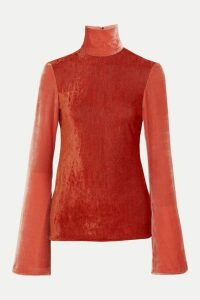 Ellery - Gagosian Striped Stretch-velvet Turtleneck Top - Red