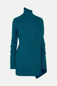 Marques' Almeida - Asymmetric Ribbed Metallic Merino Wool Turtleneck Sweater - Turquoise