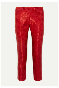 Ann Demeulemeester - Cropped Cord-trimmed Satin-jacquard Straight-leg Pants - Red