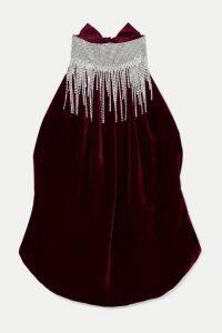 HARMUR - Open-back Crystal-embellished Silk-velvet And Satin Halterneck Top - Burgundy