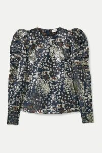 By Malene Birger - Claude Ruched Metallic Brocade Top - Storm blue