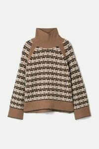 By Malene Birger - Lygos Intarsia Merino Wool-blend Turtleneck Sweater - Light brown