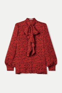 Alice + Olivia - Tammy Pussy-bow Printed Crepe Blouse - Red