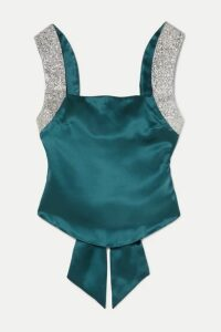 HARMUR - Open-back Glittered Silk-satin Top - Petrol