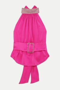 HARMUR - Open-back Belted Crystal-embellished Silk-satin Halterneck Top - Bubblegum
