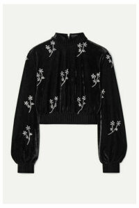 PatBO - Cropped Crystal-embellished Velvet Turtleneck Top - Black