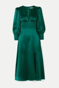 Reformation - Keats Silk-satin Midi Dress - Emerald