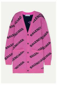Balenciaga - Intarsia Wool-blend Cardigan - Pink