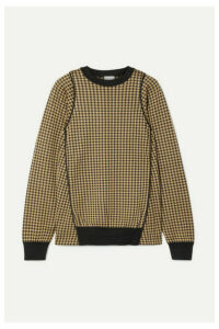 Noir Kei Ninomiya - Piped Houndstooth Silk-jacquard Sweater - Sand