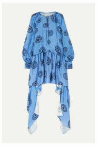 JW Anderson - Asymmetric Printed Satin-jacquard Dress - Blue