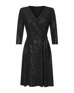 Yumi Curves Wrap Sequin Dress