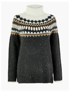 M&S Collection Fair Isle Print Roll Neck Relaxed Fit Jumper