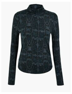 M&S Collection Animal Print Turtle Neck Fitted Top