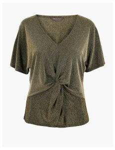 M&S Collection Metallic Twist Front V-Neck Short Sleeve Top