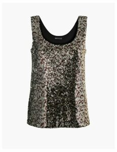 M&S Collection Animal Print Sequin Vest Top