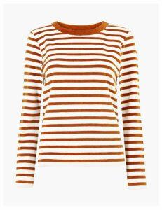 M&S Collection Velour Striped Sweatshirt