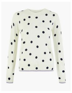 M&S Collection Polka Dot Round Neck Jumper