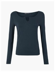 M&S Collection Notch Neck Jersey Long Sleeve Top