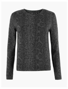 M&S Collection Animal Print Sparkle Sweatshirt