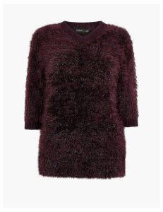 Autograph V-Neck Tinsel Jumper