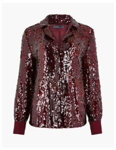 Autograph Sequin Revere Collar Shirt
