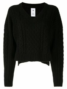 Maison Mihara Yasuhiro cable-knit cropped jumper - Black