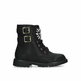 Kurt Geiger London Mini Stoop - Black Embellished Biker Boots Ages 8-13