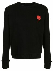 The Elder Statesman palm tree cashmere jumper - Black