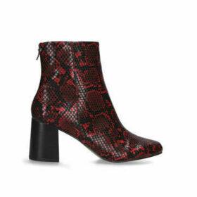 Carvela Smash - Red Snake Print Block Heel Ankle Boots