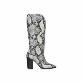 Carvela Sheer - Snake Print Block Heel Knee High Boots