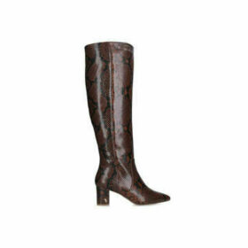 Kurt Geiger London Briya - Brown Snake Print Block Heel Knee High Boots