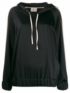 L'Autre Chose two tone satin hoodie - Black