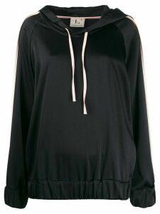 L'Autre Chose two tone satin hoodie - Black