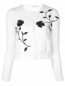 Oscar de la Renta floral embroidered cardigan - White